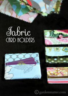 Learn how to make this simple card holder from 5 in squares of coordinating fabric. Use for business cards or a gift card package.