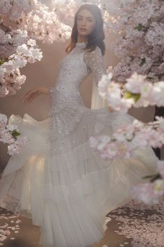 Discover our new bridal collection, 'Fallen For You', featuring tiered ruffle wedding gowns, embellished wedding dresses and soft ombre ballerina length skirts. Rental Wedding Dresses, Cheap Wedding Dress, Wedding Outfits, Sequin Midi Dress, Sequin Gown, Needle And Thread Dresses, Traditional Gowns, Tulle Bows, Vintage Bridal