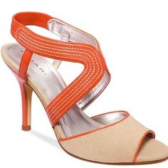 Tahara Laine Heels Gorgeous Tahari heels in pink-ish orange and tan canvas. Leather sole. Size 6. Great condition. Sold at Lord and Taylor. Tahari Shoes Heels