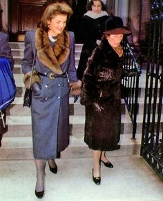 Jackie and her mother at Rose Schlossberg's christening, December 1988, held at St. Thomas More Church, NYC.
