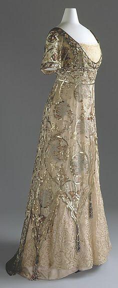 gold & ivory French Art Nouveau evening dress, 1910.