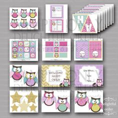 Night Owl Birthday Party Package   19 PDF by DelightfulOrder, $21.00