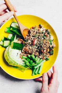 This Thai Larb Recipe (Larb Moo) is the most authentic Paleo, and Keto Thai Larb. This Thai salad is loaded with fresh herbs and fragrance and a hint of spicy and full of freshness all ready in under 30 minutes! Pork Larb, Whole30 Dinner Recipes, Paleo Recipes, Thai Recipes, Lunch Recipes, Asian Recipes, Free Recipes, Chicken Recipes, Bon Appetit