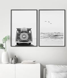Set of 2 Wall Art Beach Art Print Surf Poster Coastal | Etsy Rustic Wall Art, Coastal Wall Art, Beach Wall Art, Coastal Decor, Vintage Surf, Black And White Wall Art, Beach Print, Large Wall Art, Beautiful Space