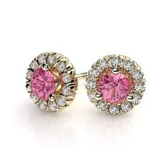 Pink Sapphire Gemstone & .24ctw Diamond Halo Stud Earrings in 18k Yellow Gold by JewelryHub on Opensky