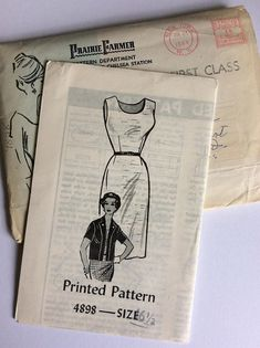 Vintage 60s Printed Pattern Sewing Pattern 4898 - Size 16.5 - Bust 37 inches - Vintage Dress Sewing Pattern - Vintage Shift Dress