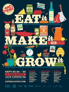 how awesome is this poster for the upcoming eat real festival. super graphic and bold, i love the style! Typo Poster, Event Poster Design, Poster Designs, Holiday Program, Sydney Food, Pineapple Images, Festival Posters, Wine And Beer, Food Crafts