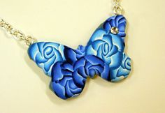 Butterfly with polymerclay millefiori roses - Polymerclay by KVJ