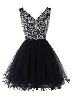 Princess V-neck Tulle Homecoming Dress, Black Crystal Short Homecoming Dress, Cute Mini Homecoming Dress with Pleats, sold by VanessaWu. Shop more products from VanessaWu on Storenvy, the home of independent small businesses all over the world. V Neck Prom Dresses, Dresses Short, Black Prom Dresses, Dresses For Teens, Pretty Dresses, Homecoming Dresses, Beautiful Dresses, Evening Dresses, Graduation Dresses