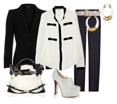Estilo Formal by outfits-de-moda2 on Polyvore featuring moda, Moschino Cheap & Chic, Ann Demeulemeester, Calvin Klein Collection, Christian Louboutin, Burberry, D&G and COSTUME NATIONAL