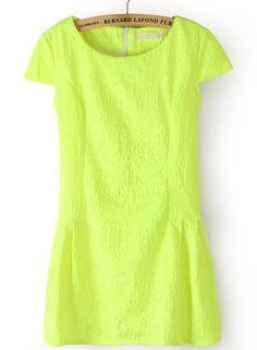 #SheInside Green Short Sleeve Back Zipper Pattern Dress