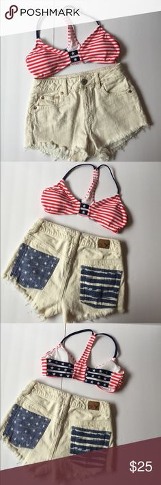 """🇺🇸Memorial Day Sale🇺🇸""""Merica"""" Bundle deal 🇺🇸 Get these 2 items now! On sale for Memorial Day !!Bundle deal: Off white American Eagle high waisted shorts size 00. They are plain on the front, but then back pockets are navy with Star and stripes design as shown in the pictures. American flag size small swim suit top. Other"""