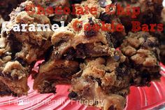 Absolutely amazing Chocolate Chip Caramel Cookie Bars.