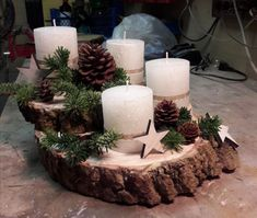 Create an unusual Advent wreath without needles this year: 31 magical and … - Weihnachten Candle Centerpieces, Diy Candles, Scented Candles, Christmas Table Decorations, Christmas Candles, Holiday Decor, Advent Wreath, Diy Wreath, Ornament Wreath