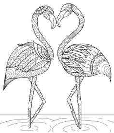 Craft Haven Flamingo - Free Coloring Page