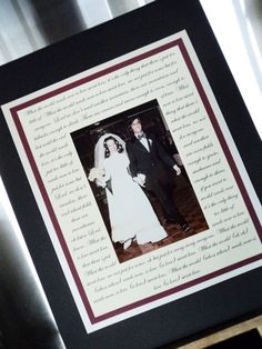 Anniversary Gift, Bridal Shower Gift, Wedding Gift, Personalized Photo Mat with Lyrics, Vows, or Poem. $59.00, via Etsy.