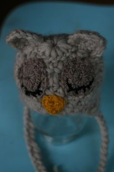Sleeping owl hat newborn for baby boy crochet knit by rabbitkisses, $25.00