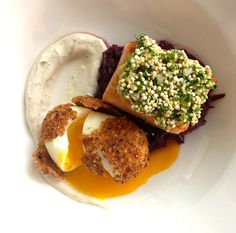 The Perfect Egg at Dutch & Co. in Richmond, Va: Rye Crusted, Cured Salmon, Herbs, Sprouted Quinoa, Braised Cabbage, Cumin Yogurt