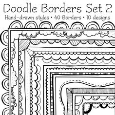 Cute Doodle Page Borders - 02 Doodle Borders, Page Borders, Borders And Frames, Zen Doodle, Doodle Art, Tangle Doodle, Circle Garland, Doodle Pages, Drawing Clipart
