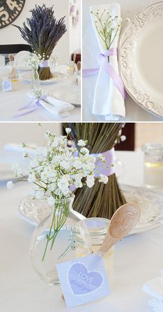 """Love the """"baby breath"""" flowers and lavender center piece"""
