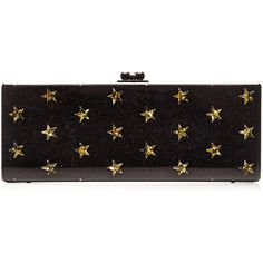 Edie Parker Flavia Stars Clutch (9.955 HRK) ❤ liked on Polyvore featuring bags, handbags, clutches, black handbags, black clutches, star handbags, edie parker handbags and lucite purse