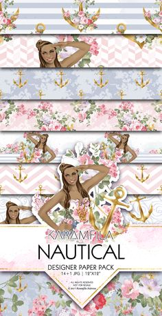 Nautical Digital Paper Summer Seamless Patterns Sailor Pinup Girl African American Beauty Golden Anchor with Flowers by Karamfila Printable Scrapbook Paper Planner Stickers DIY