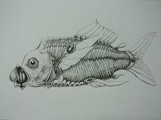 空想/幻想画「機械仕掛けの魚」[キダ虫] | ART-Meter