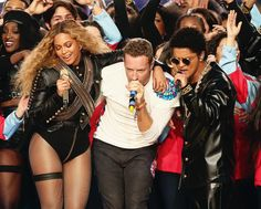 Beyonce, Coldplay and Bruno Mars perform during the Super Bowl 50 Pepsi Halftime Show.