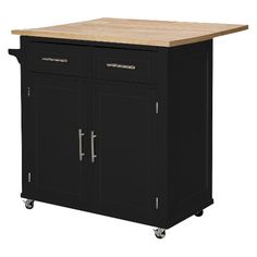 Large Kitchen Island with Wood Top and Storage - Black - Threshold™ : Target