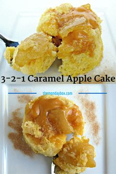 Caramel Apple Mug Cake - The Monday Box Caramel Apple Cake- individual serving moist vanilla mug cake filled with spiced apple slices and gooey melted caramel- ready to eat in 1 microwave minute! Microwave Deserts, Mug Cake Microwave, Microwave Recipes, Moist Vanilla Cake, Vanilla Mug Cakes, Mug Recipes, Apple Recipes, Dessert Recipes, Desert Recipes