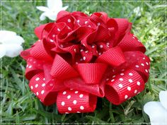 Layered loopy flower hairbow red bow boutique by B Flower Hair Bows, Fabric Hair Bows, Ribbon Hair Bows, Diy Hair Bows, Flowers In Hair, Making Hair Bows, Bow Making, Funky Bow, Red Hair Bow