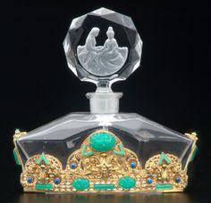 CHECA botella de perfume de cristal claro con elaborat
