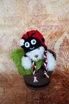 Crochet Lady Bug Hat by JLloPhotographyProps on Etsy, $25.00