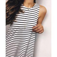 White Black Striped Dress.NWOT Gorgeous sleeveless spring/summer dress. Material:Polyester. Silhouette: Shift.  Length: 85cm Dresses Mini