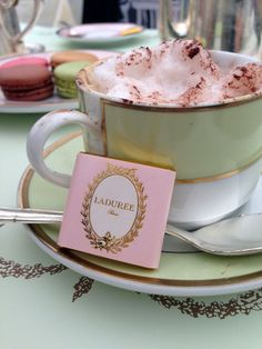 I love this pretty Laduree photo. Check out our review of 'Macaron, the Recipes' book by Laduree http://www.afrenchcollection.com/laduree-recipe-book-macaron-the-recipes