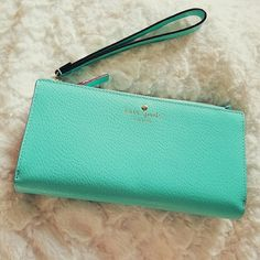Kate Spade Wristlet {Wardrobe Goals Host Pick 5/31} {Jet-Set Style Host Pick 6/27} Brand new large wristlet! Great fresh air color, one of my favorites! Plenty of pockets and card slots. No trades, no comment offers, no lowball offers please! Kate Spade Bags Clutches & Wristlets