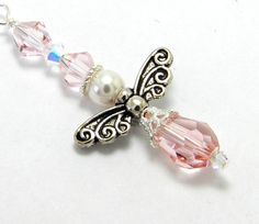 Angel Rear View Mirror or Air Vent Car Charm  Pink by CarCharmShop