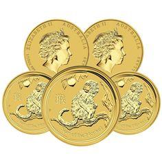 Lot of 5 - 2016 1/10 oz Gold Year of The Monkey BU (In Capsule) - Australia Pert in Coins & Paper Money, Bullion, Gold | eBay