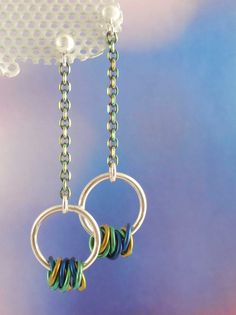 Hoops on a Chain! Sterling Silver Niobium and by unkamengifts