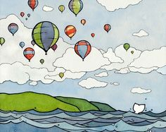 Hot Air Balloon Festival, watercolor and ink. by david scheirer
