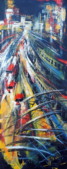 Gare Station - original painting by Gisele Boulianne at Crescent Hill Gallery