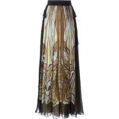 Alberta Ferretti printed maxi skirt ($1,235) ❤ liked on Polyvore featuring skirts, black, silk skirt, long silk skirt, multi color maxi skirt, long colorful skirts and silk maxi skirt