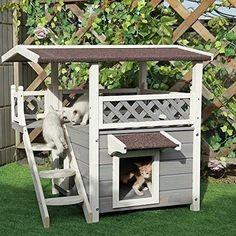 2-Story Outdoor Weatherproof Wooden Cat / Dog House