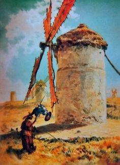 Don Quijote arremete contra el molino, de Ricardo Balaca y Orejás Canseco (1880).