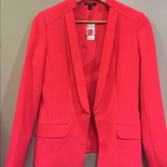 Hot Pink Blazer NWT size 6 Cute blazer from Express. Longer length with feminine cut. Cute with Jeans or navy, black, or white pants. Love it, just need a bigger size!! Express Jackets & Coats Blazers