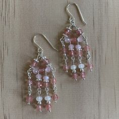Recycled Crystals, Rose & Clear Quartz Chandelier Earrings