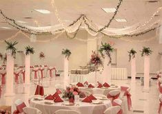 Wedding Hall Decoration Idea. (white and red)