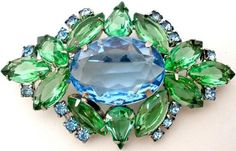 Vintage High End Rhinestone Brooch Prong Set Blue Green Stones