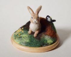 羊毛フェルト/森のうさぎ