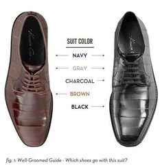 Which colour shoes go with which colour suit? Brown shoes, black shoes, blue, navy, black, grey, brown, charcoal suits.